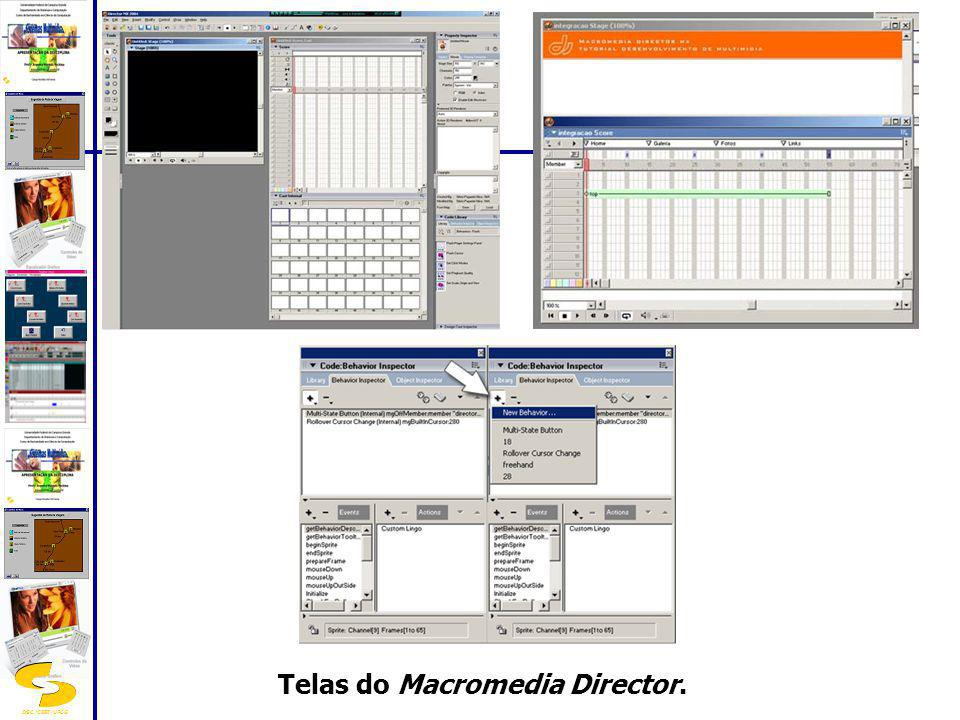 Telas do Macromedia Director.