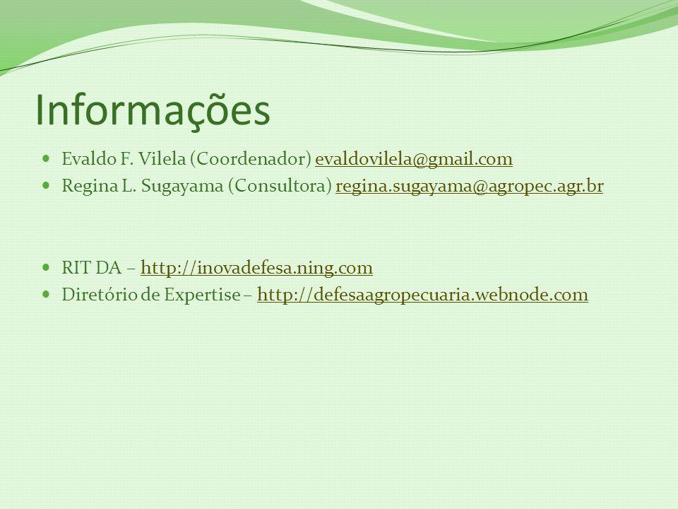 Informações Evaldo F. Vilela (Coordenador) evaldovilela@gmail.com