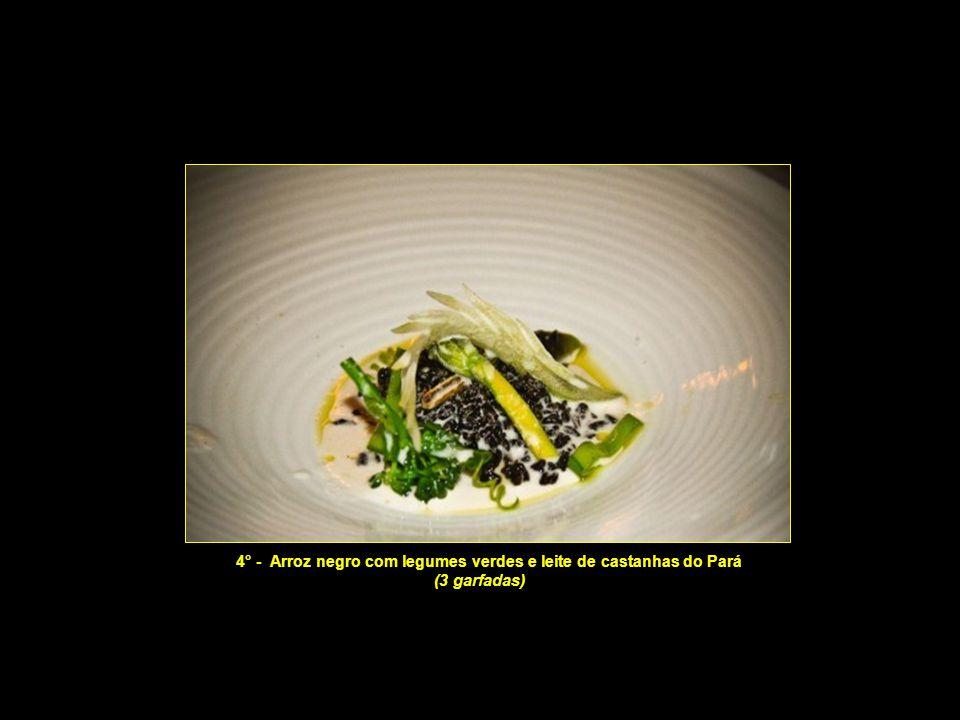 4° - Arroz negro com legumes verdes e leite de castanhas do Pará