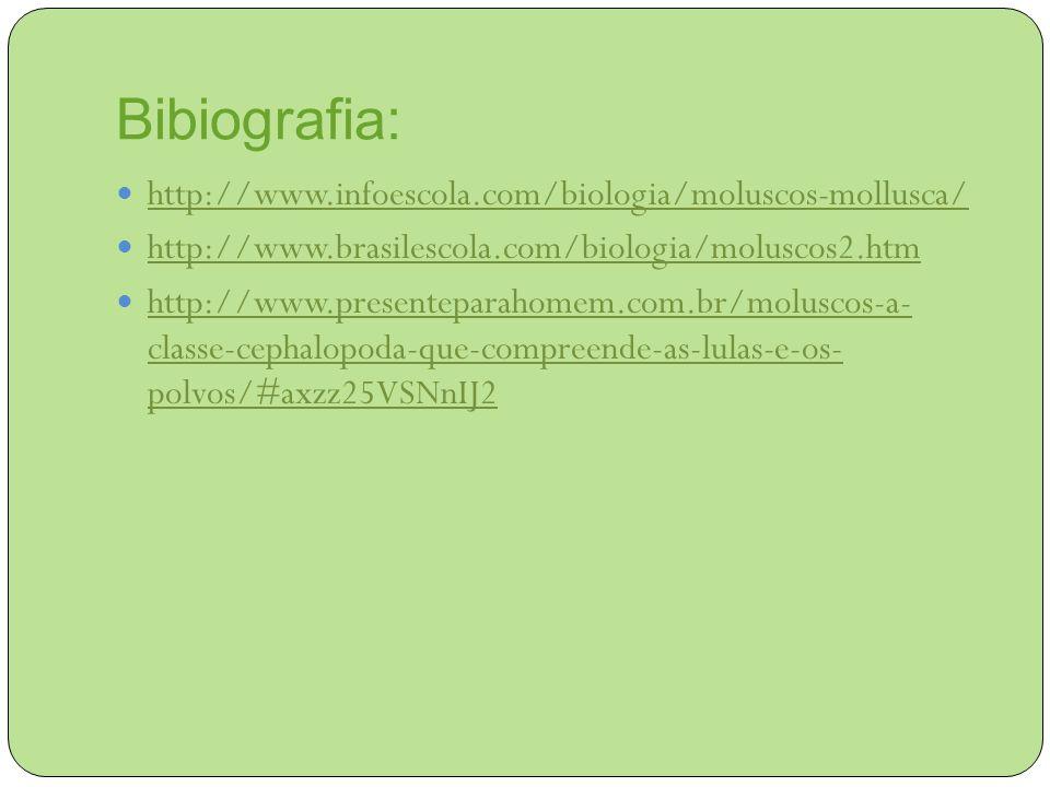 Bibiografia: http://www.infoescola.com/biologia/moluscos-mollusca/