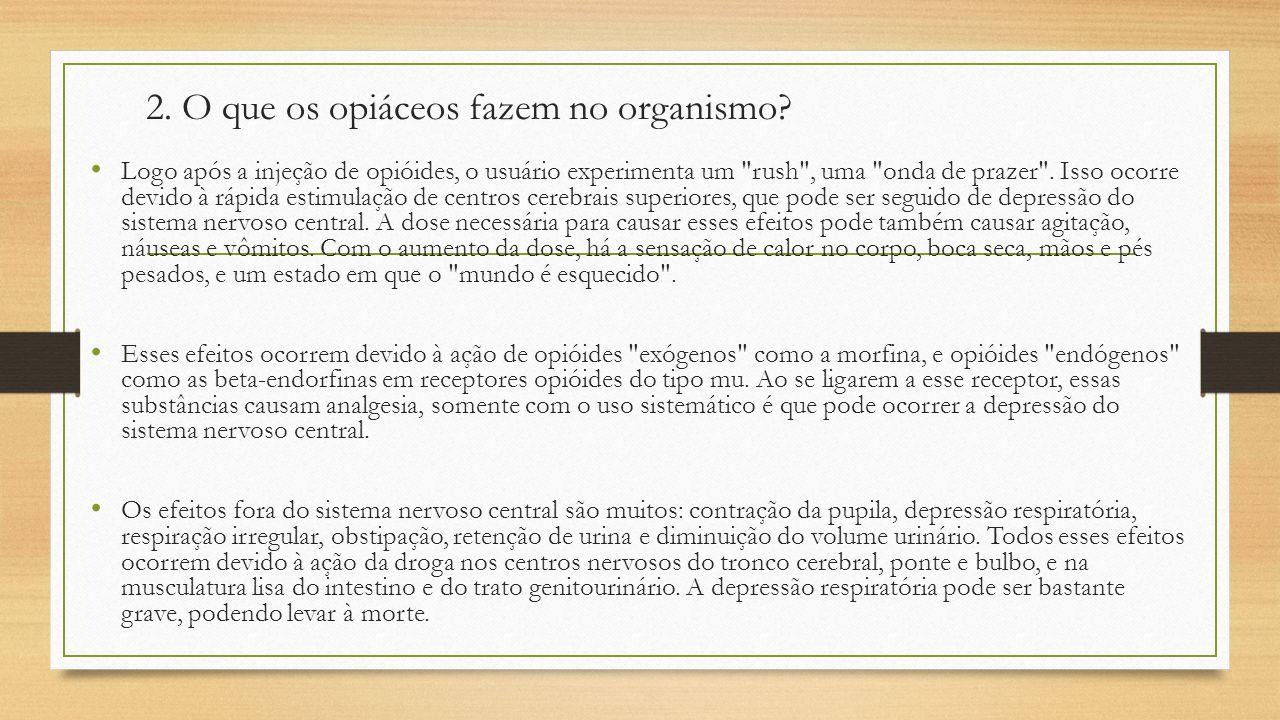 2. O que os opiáceos fazem no organismo