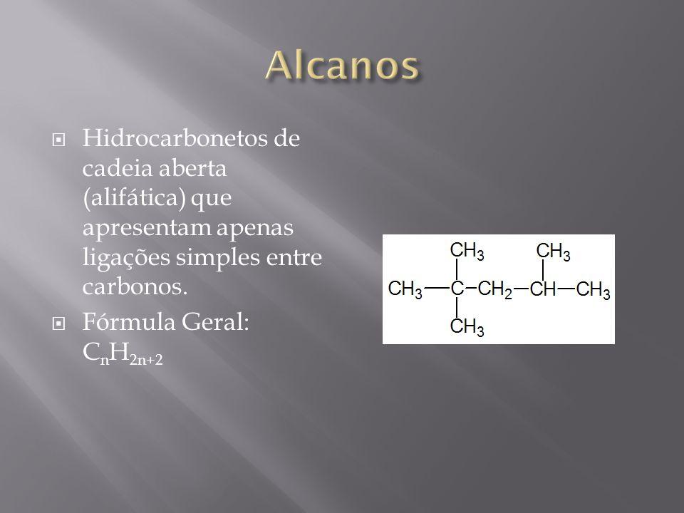 Alcanos Hidrocarbonetos de cadeia aberta (alifática) que apresentam apenas ligações simples entre carbonos.