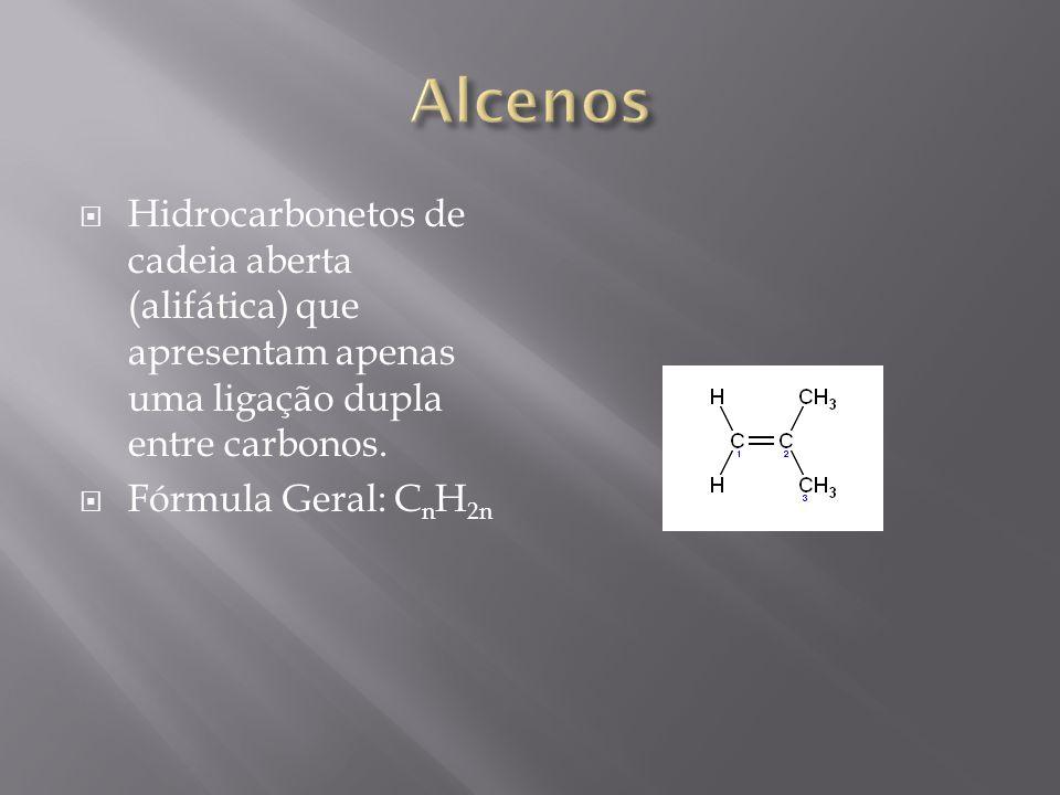 Alcenos Hidrocarbonetos de cadeia aberta (alifática) que apresentam apenas uma ligação dupla entre carbonos.