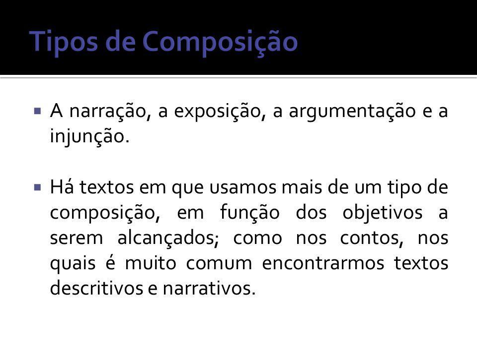 Tipos de Composição A narração, a exposição, a argumentação e a injunção.