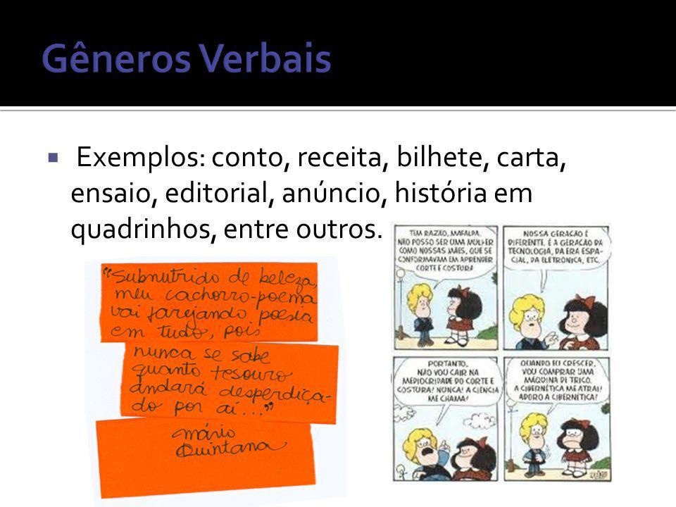 Gêneros Verbais Exemplos: conto, receita, bilhete, carta, ensaio, editorial, anúncio, história em quadrinhos, entre outros.