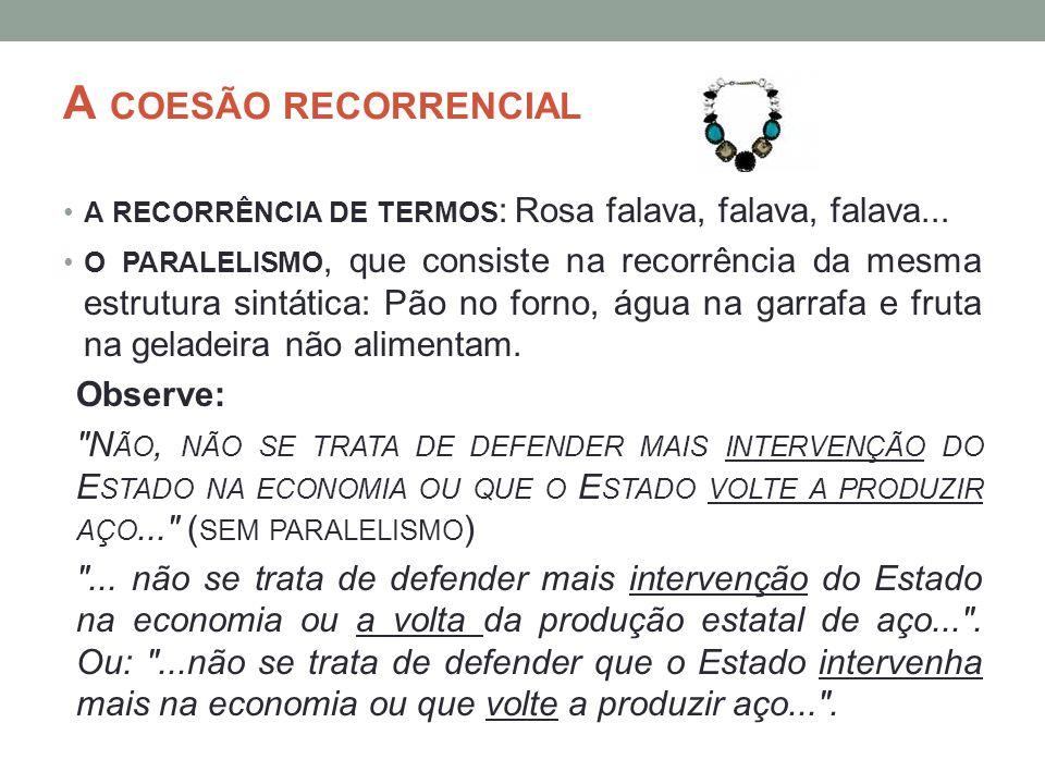 A coesão recorrencial a recorrência de termos: Rosa falava, falava, falava...