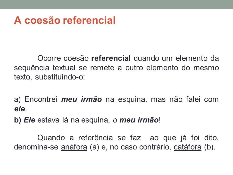 A coesão referencial Ocorre coesão referencial quando um elemento da sequência textual se remete a outro elemento do mesmo texto, substituindo-o: