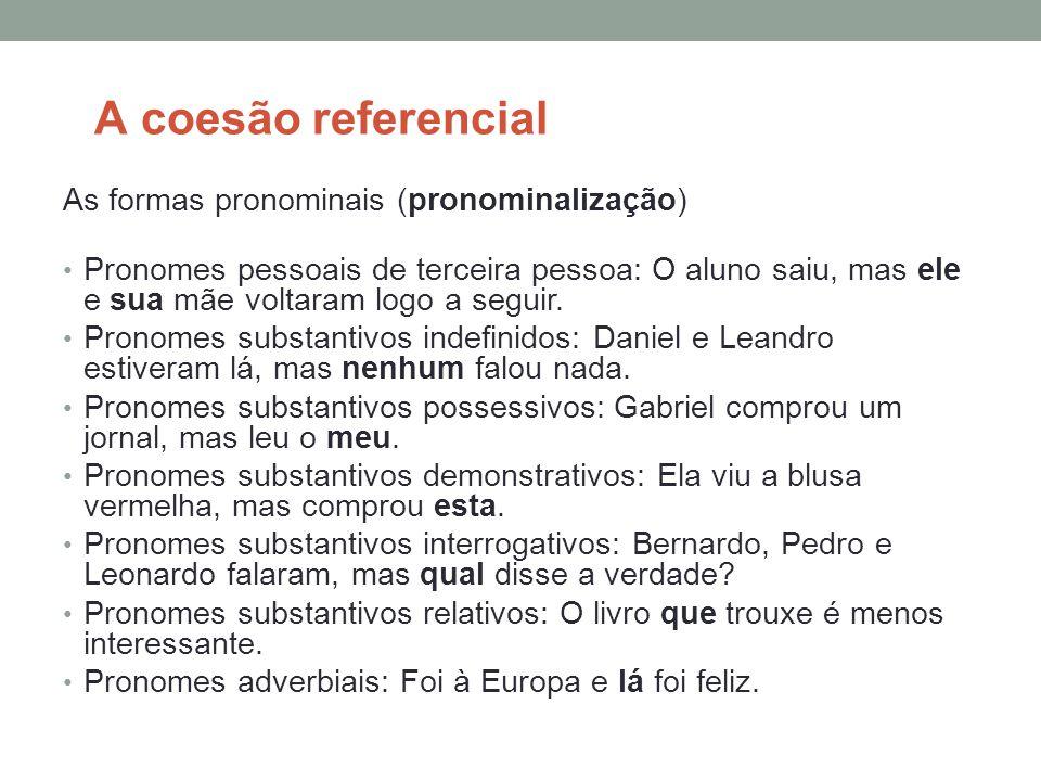 A coesão referencial As formas pronominais (pronominalização)