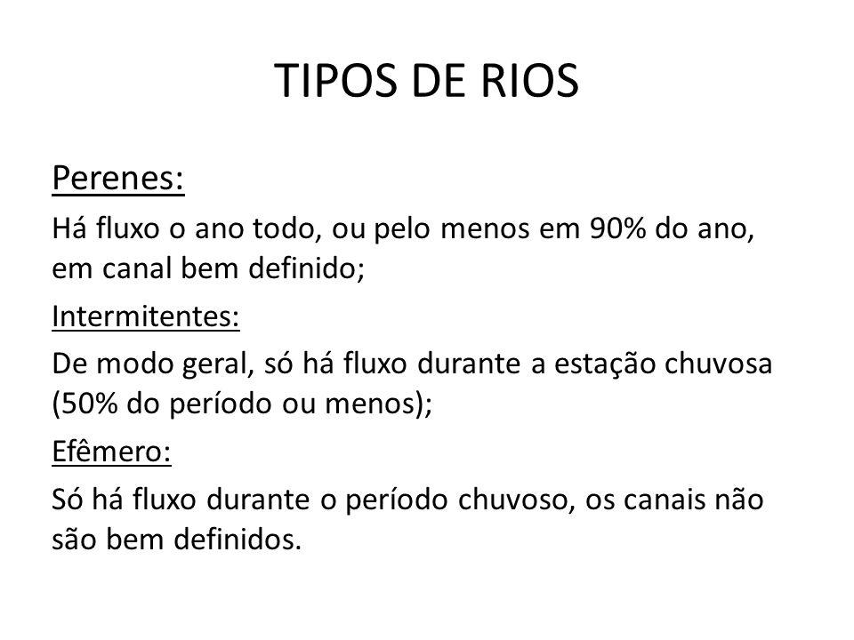 TIPOS DE RIOS Perenes: Há fluxo o ano todo, ou pelo menos em 90% do ano, em canal bem definido; Intermitentes: