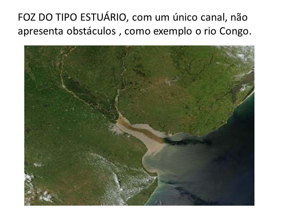 FOZ DO TIPO ESTUÁRIO, com um único canal, não apresenta obstáculos , como exemplo o rio Congo.