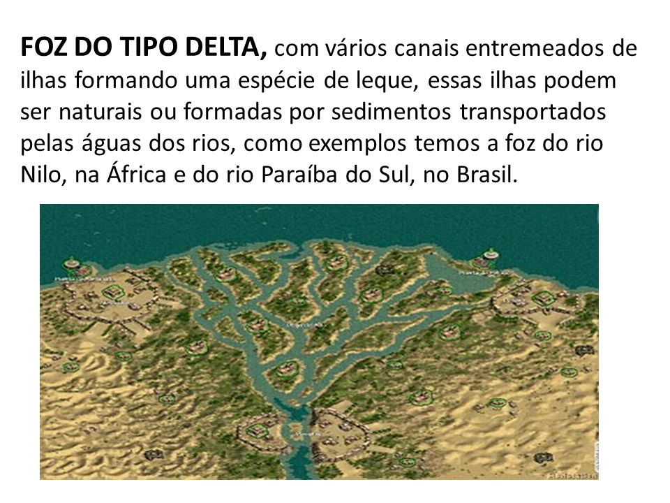 FOZ DO TIPO DELTA, com vários canais entremeados de ilhas formando uma espécie de leque, essas ilhas podem ser naturais ou formadas por sedimentos transportados pelas águas dos rios, como exemplos temos a foz do rio Nilo, na África e do rio Paraíba do Sul, no Brasil.