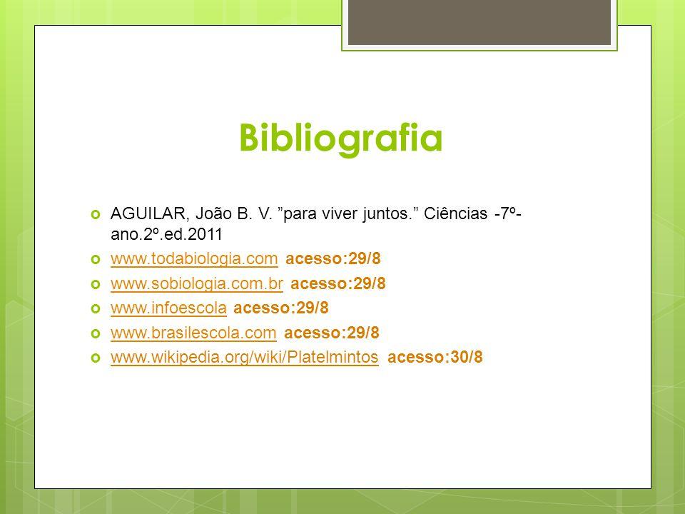 Bibliografia AGUILAR, João B. V. para viver juntos. Ciências -7º-ano.2º.ed.2011. www.todabiologia.com acesso:29/8.