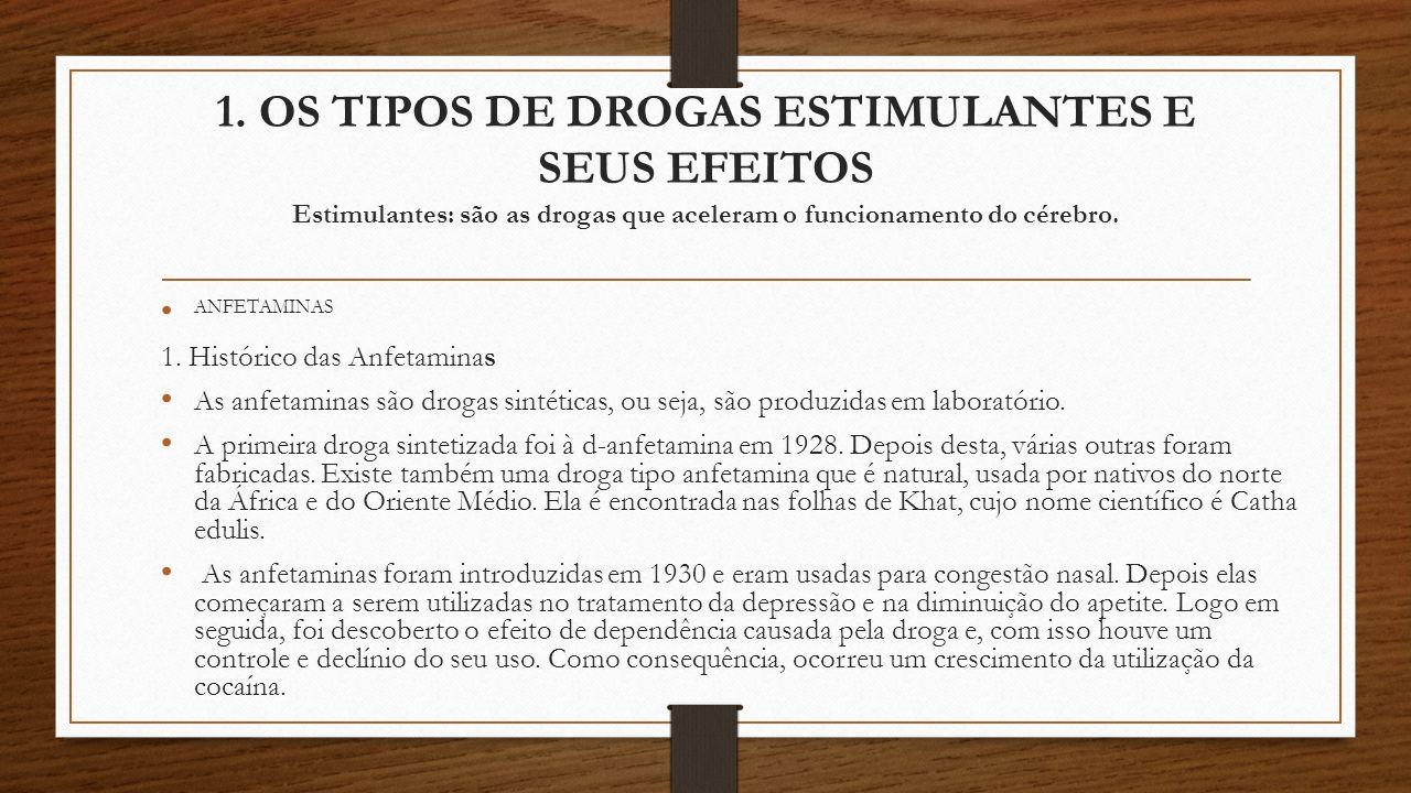 1. OS TIPOS DE DROGAS ESTIMULANTES E SEUS EFEITOS Estimulantes: são as drogas que aceleram o funcionamento do cérebro.