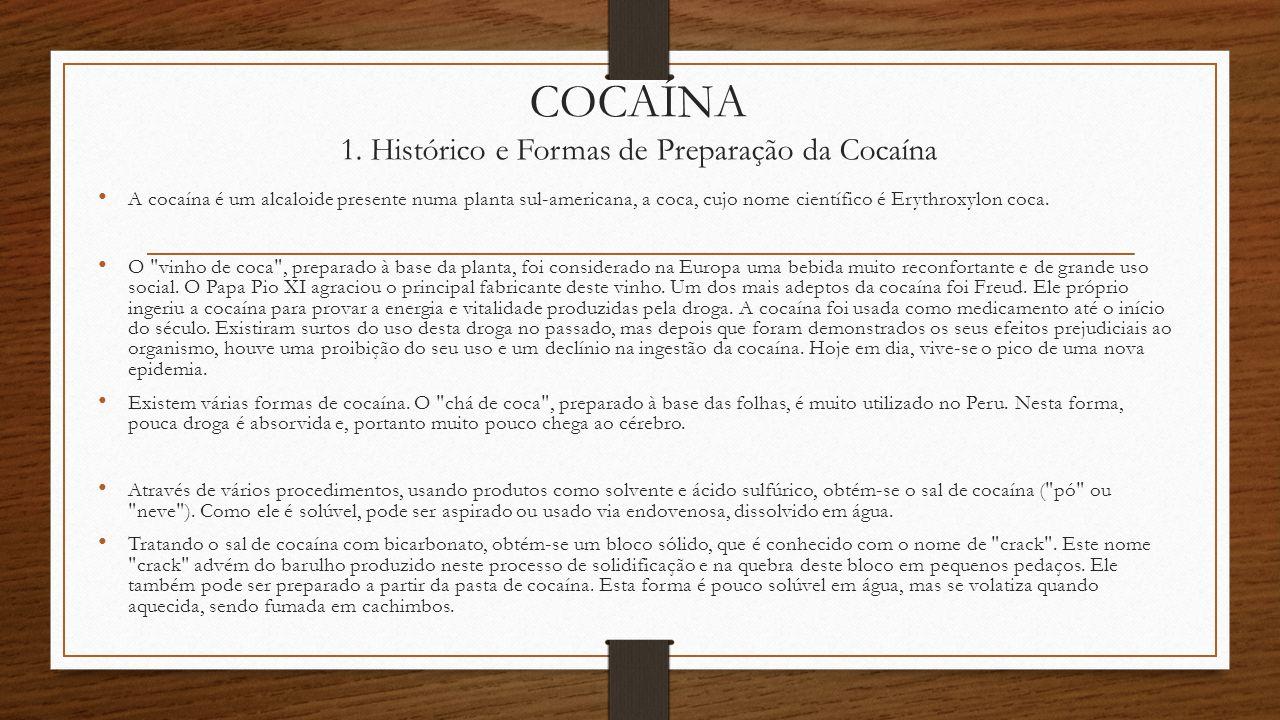 COCAÍNA 1. Histórico e Formas de Preparação da Cocaína