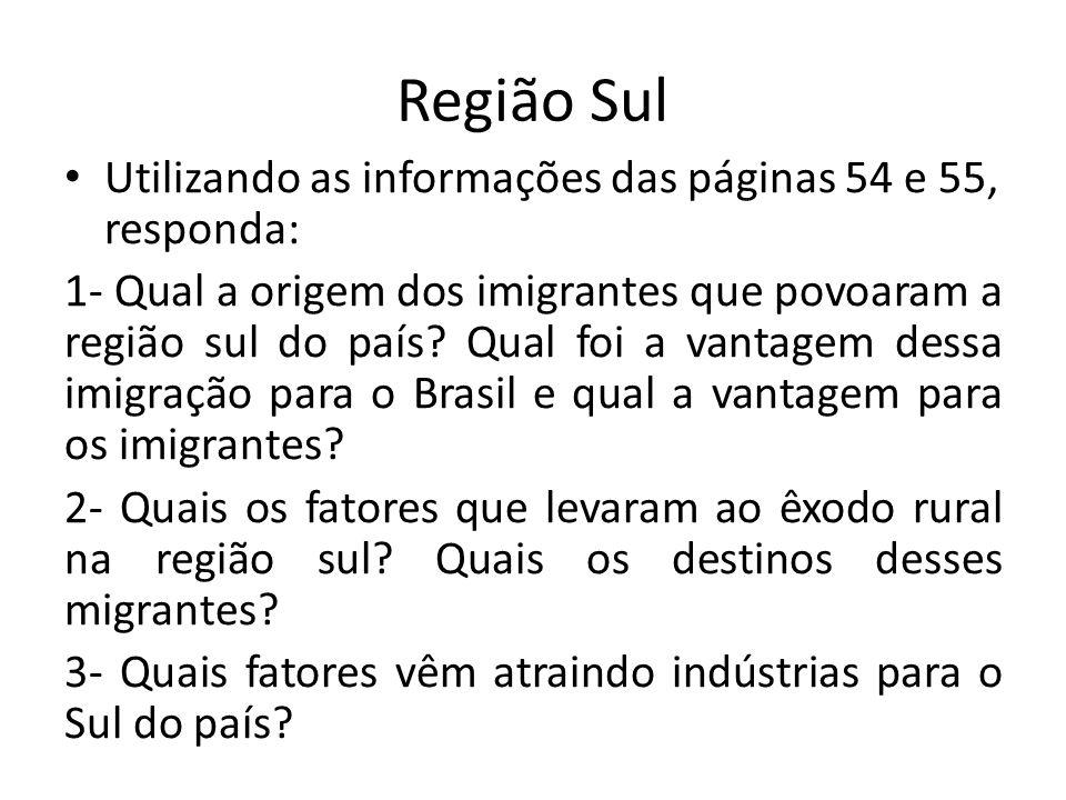 Região Sul Utilizando as informações das páginas 54 e 55, responda: