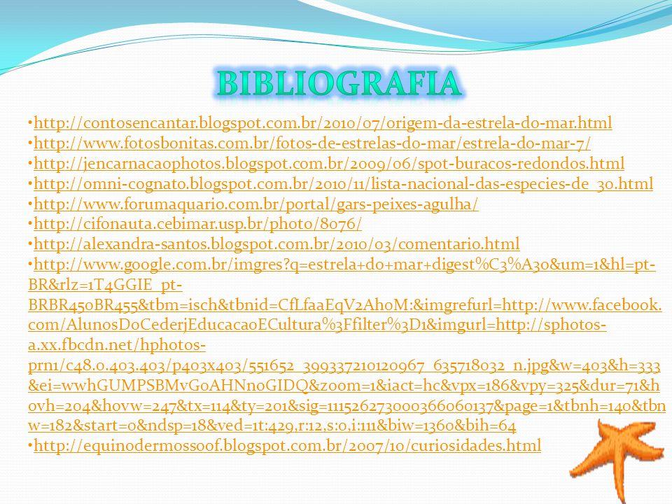 Bibliografia http://contosencantar.blogspot.com.br/2010/07/origem-da-estrela-do-mar.html.