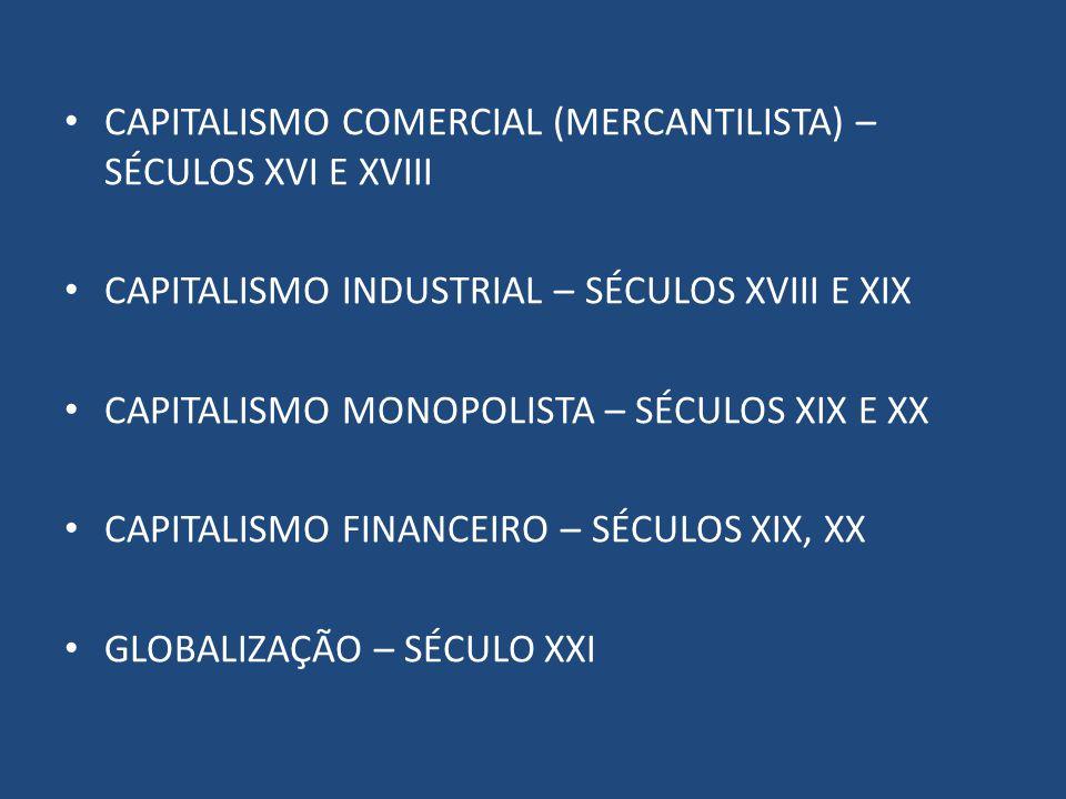 CAPITALISMO COMERCIAL (MERCANTILISTA) – SÉCULOS XVI E XVIII