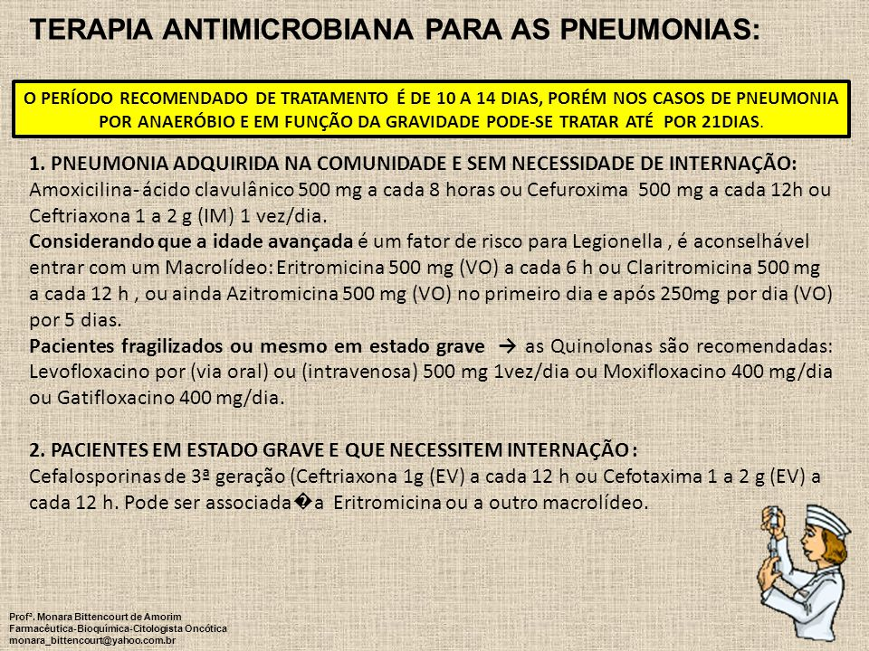 Terapia ANTIMICROBIANA PARA AS PNEUMONIAS: