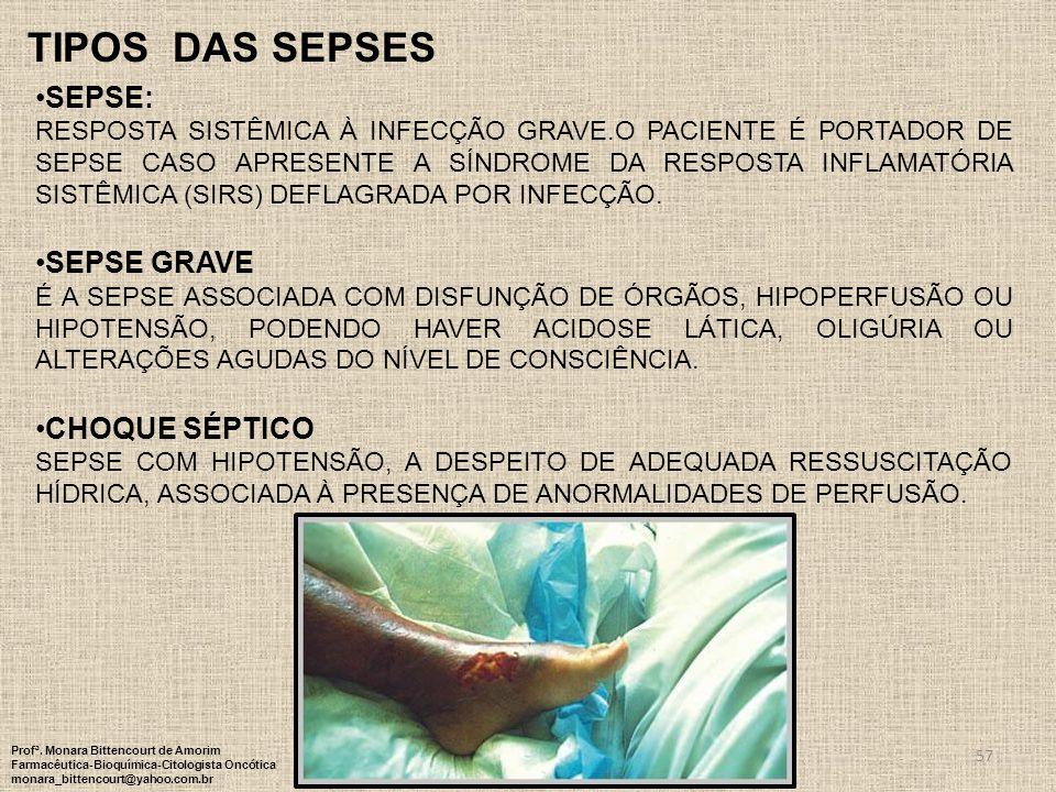 TIPOS DAS SEPSES SEPSE: SEPSE GRAVE CHOQUE SÉPTICO