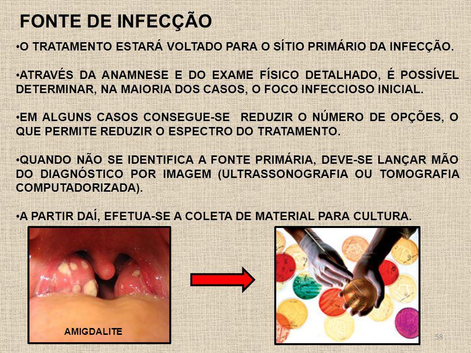 FONTE DE INFECÇÃO o tratamento estará voltado para o sítio primário da infecção.
