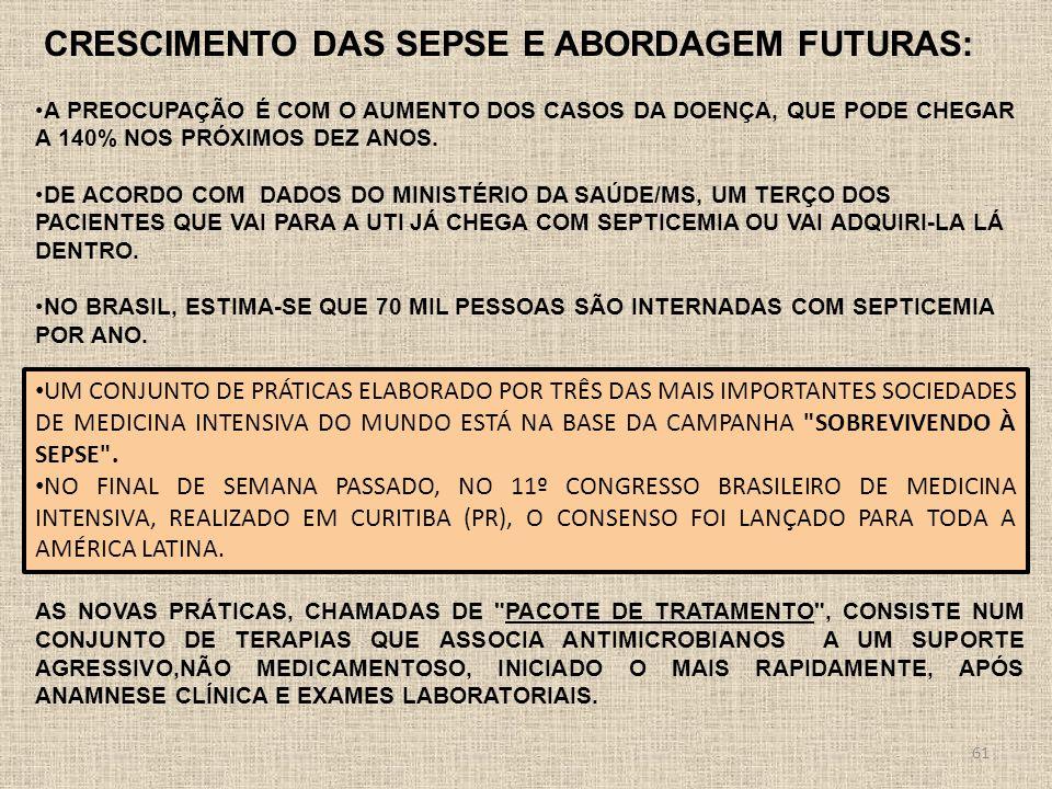 CRESCIMENTO DAS SEPSE E ABORDAGEM FUTURAS: