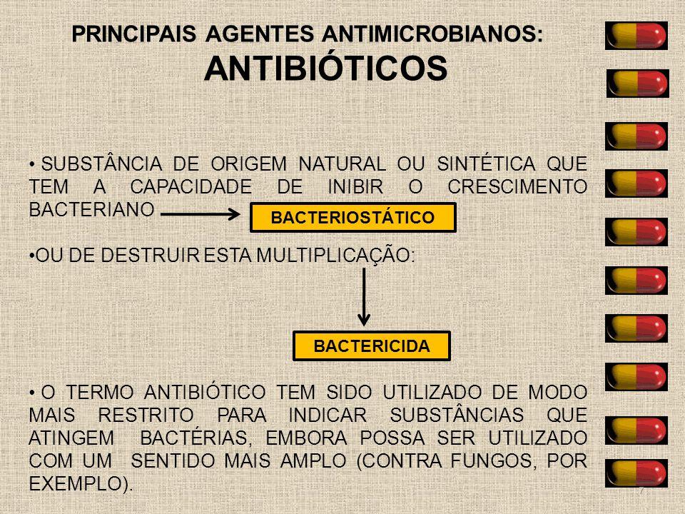 PRINCIPAIS AGENTES ANTIMICROBIANOS: