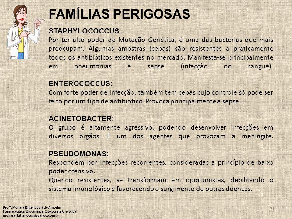 FAMÍLIAS PERIGOSAS Staphylococcus: