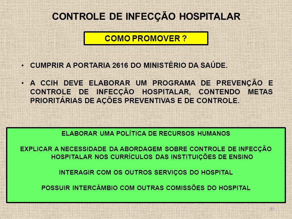 CONTROLE DE INFECÇÃO HOSPITALAR
