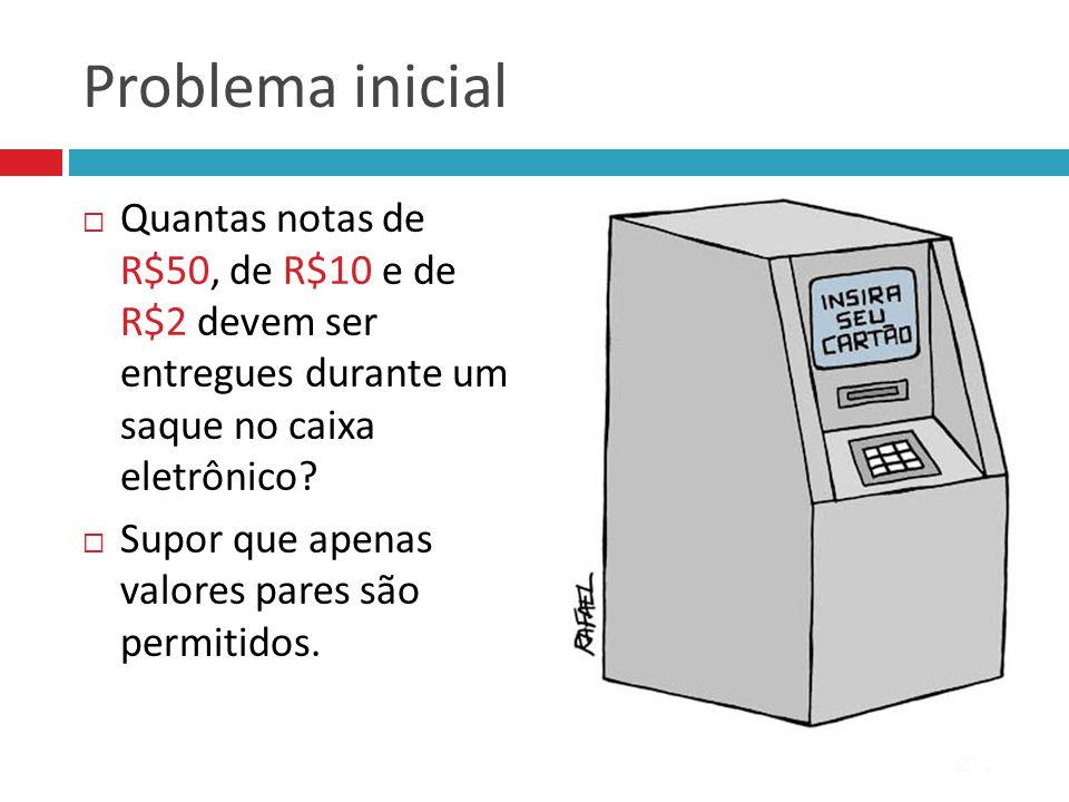 Problema inicial Quantas notas de R$50, de R$10 e de R$2 devem ser entregues durante um saque no caixa eletrônico