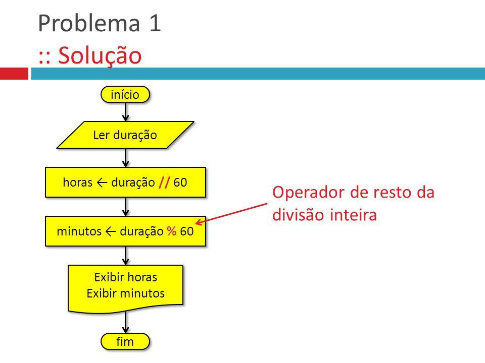 Problema 1 :: Solução Operador de resto da divisão inteira início