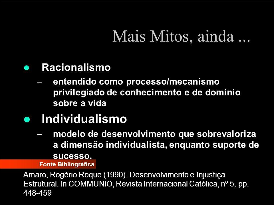 Mais Mitos, ainda ... Individualismo Racionalismo