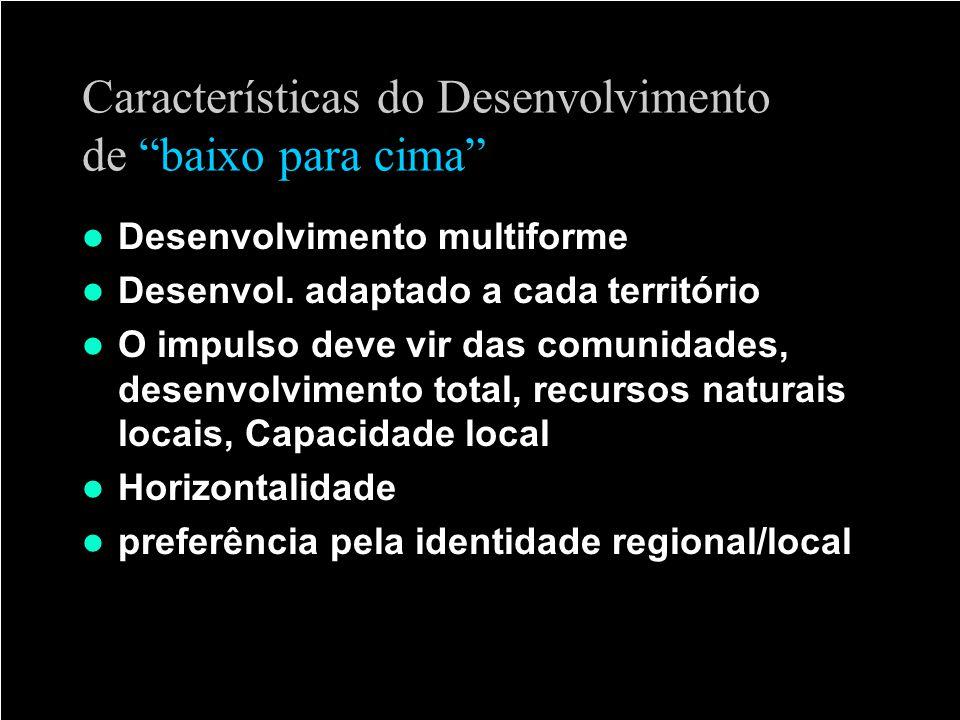 Características do Desenvolvimento de baixo para cima