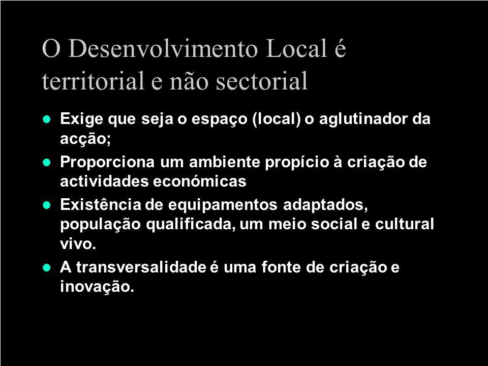 O Desenvolvimento Local é territorial e não sectorial
