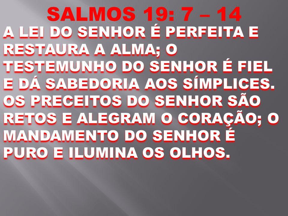 SALMOS 19: 7 – 14 A LEI DO SENHOR É PERFEITA E RESTAURA A ALMA; O