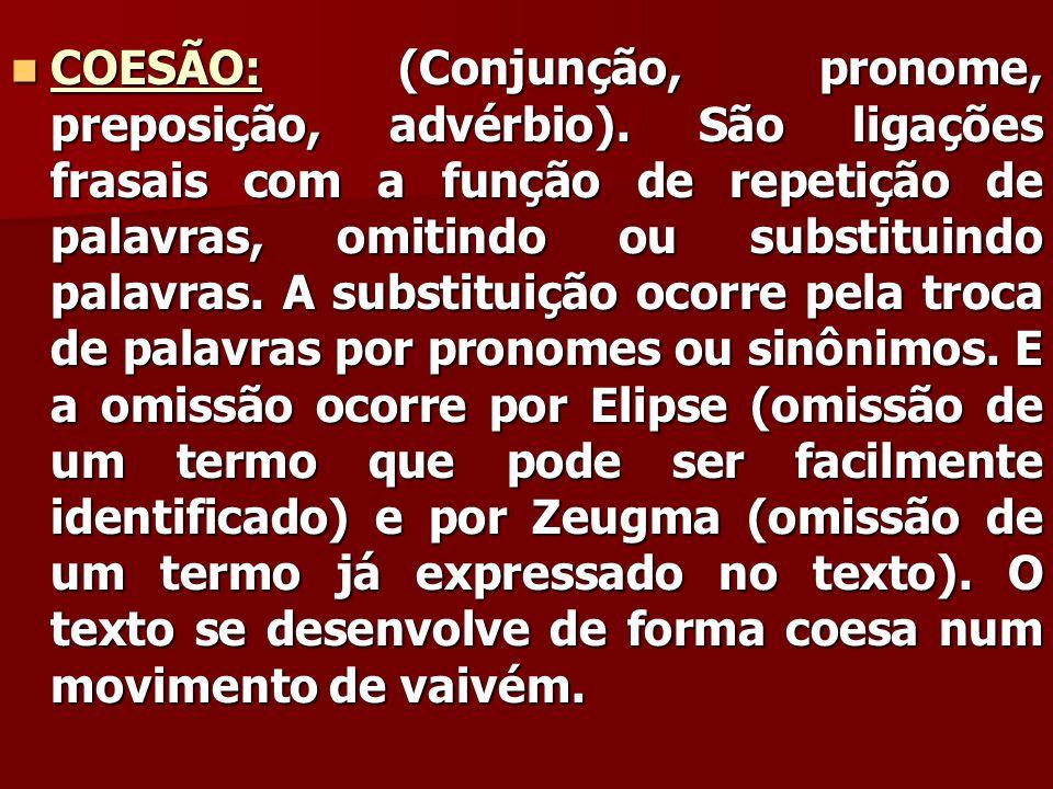 COESÃO: (Conjunção, pronome, preposição, advérbio)