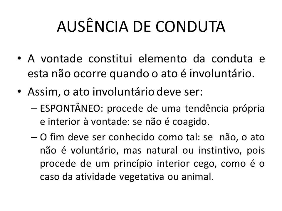 AUSÊNCIA DE CONDUTA A vontade constitui elemento da conduta e esta não ocorre quando o ato é involuntário.