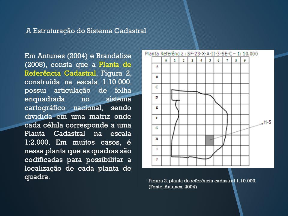 Em Antunes (2004) e Brandalize (2008), consta que a Planta de Referência Cadastral, Figura 2, construída na escala 1:10.000, possui articulação de folha enquadrada no sistema cartográfico nacional, sendo dividida em uma matriz onde cada célula corresponde a uma Planta Cadastral na escala 1:2.000. Em muitos casos, é nessa planta que as quadras são codificadas para possibilitar a localização de cada planta de quadra.