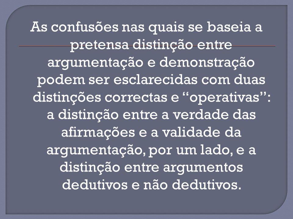 As confusões nas quais se baseia a pretensa distinção entre argumentação e demonstração podem ser esclarecidas com duas distinções correctas e operativas : a distinção entre a verdade das afirmações e a validade da argumentação, por um lado, e a distinção entre argumentos dedutivos e não dedutivos.