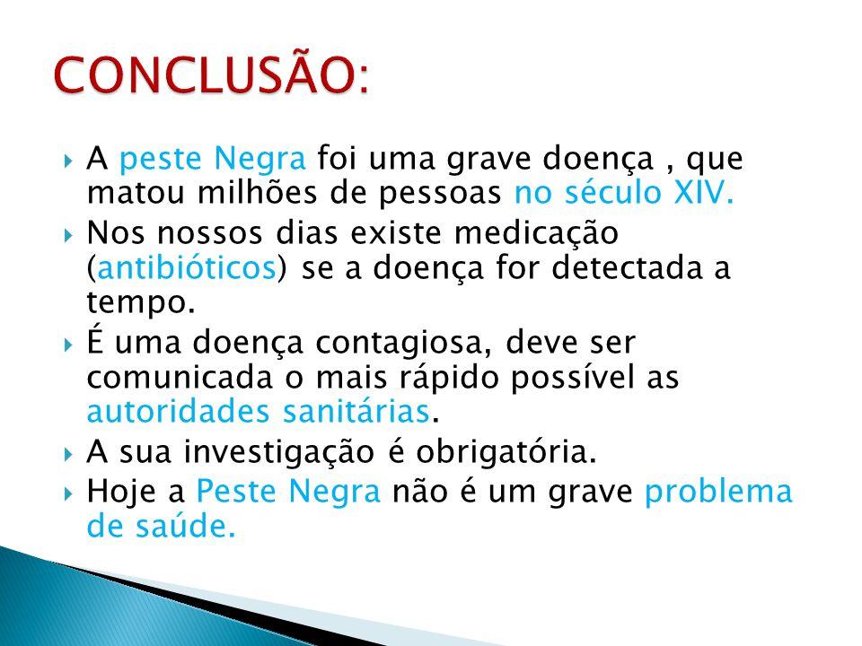 CONCLUSÃO: A peste Negra foi uma grave doença , que matou milhões de pessoas no século XIV.