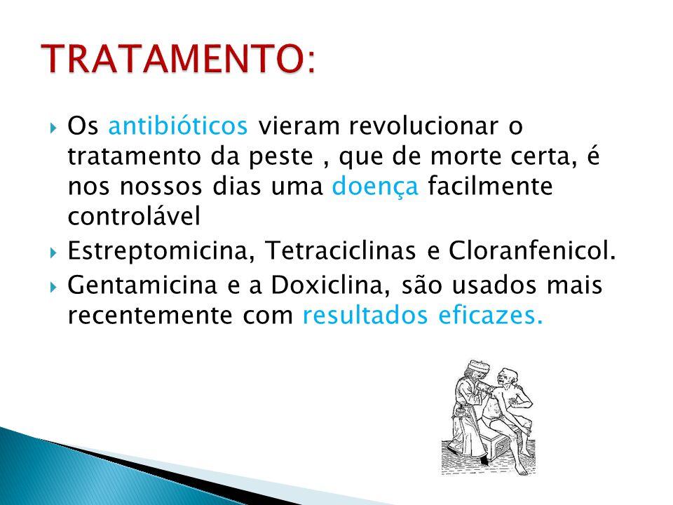 TRATAMENTO: Os antibióticos vieram revolucionar o tratamento da peste , que de morte certa, é nos nossos dias uma doença facilmente controlável.