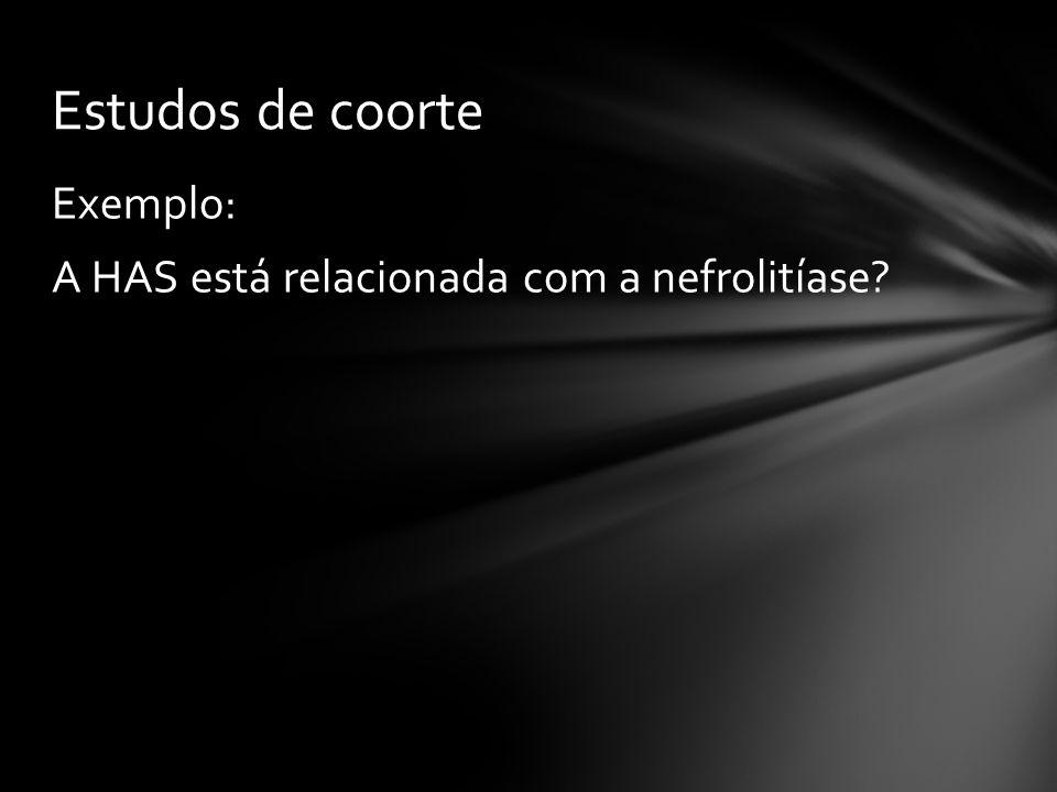 Estudos de coorte Exemplo: A HAS está relacionada com a nefrolitíase