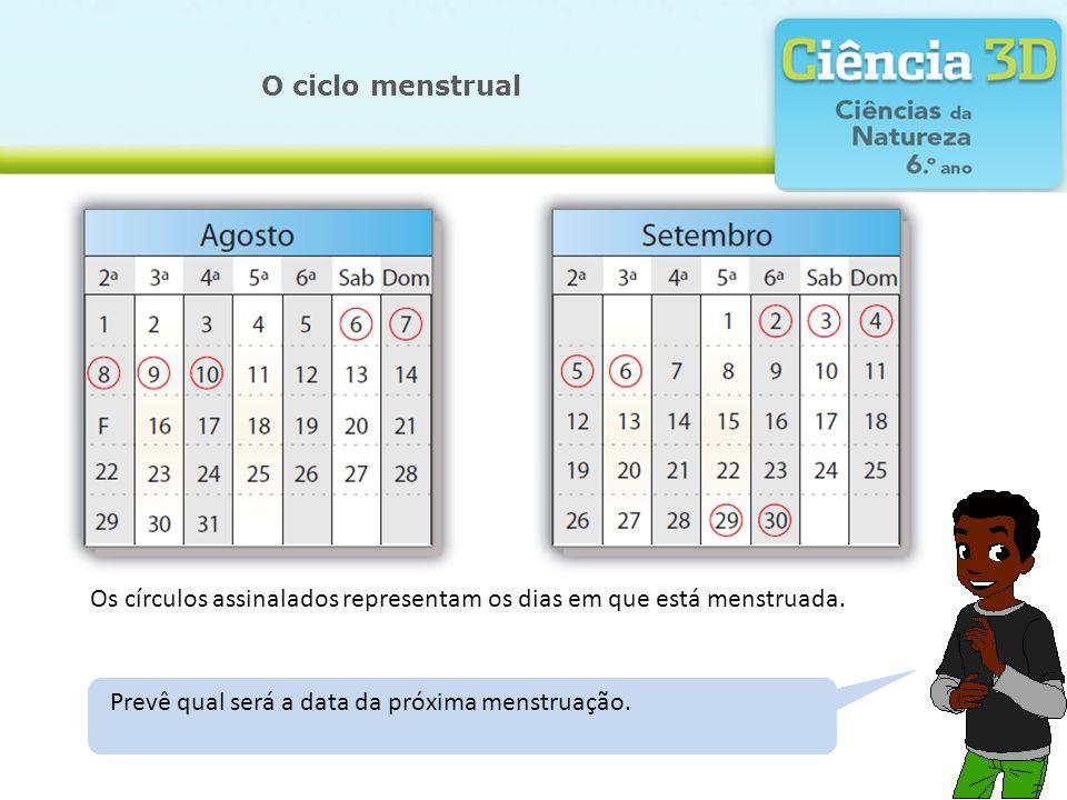 O ciclo menstrual Os círculos assinalados representam os dias em que está menstruada.