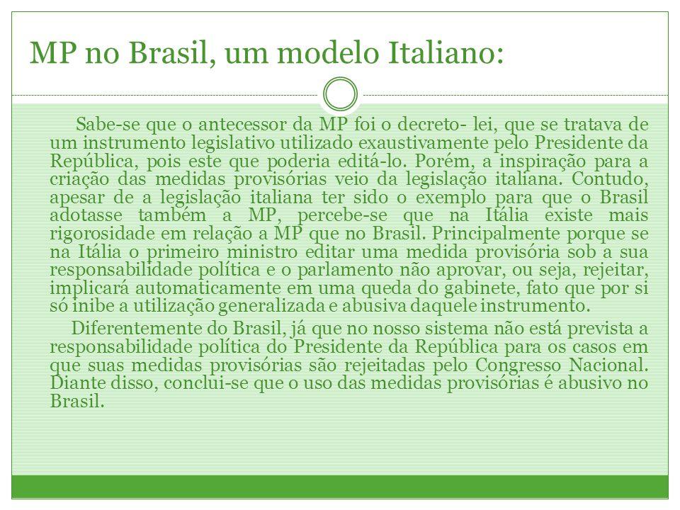 MP no Brasil, um modelo Italiano: