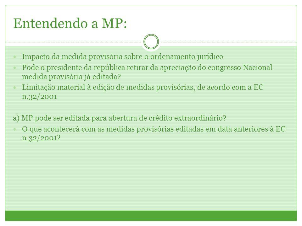 Entendendo a MP: Impacto da medida provisória sobre o ordenamento jurídico.