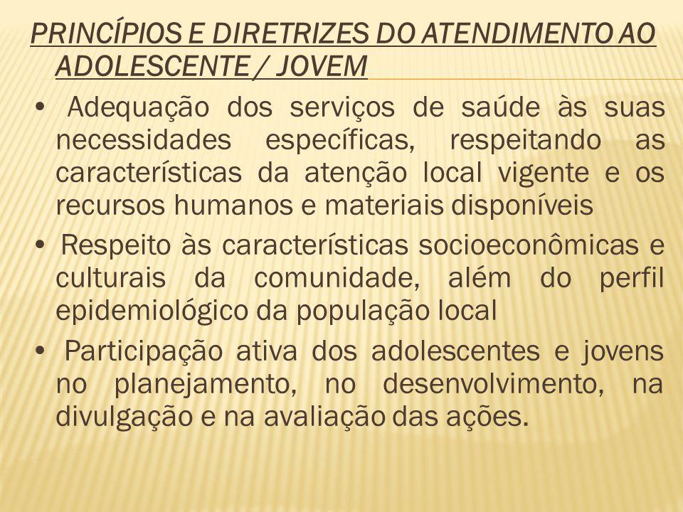 PRINCÍPIOS E DIRETRIZES DO ATENDIMENTO AO ADOLESCENTE / JOVEM