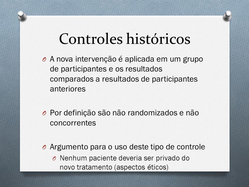 Controles históricos A nova intervenção é aplicada em um grupo de participantes e os resultados comparados a resultados de participantes anteriores.