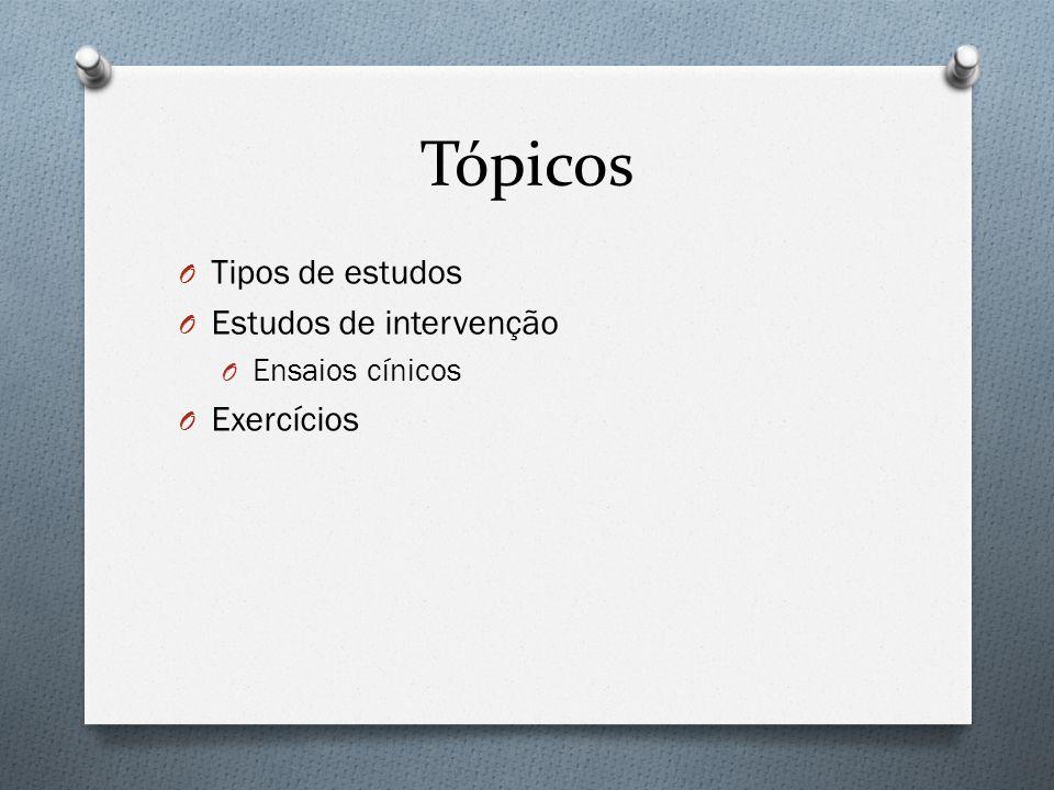Tópicos Tipos de estudos Estudos de intervenção Exercícios