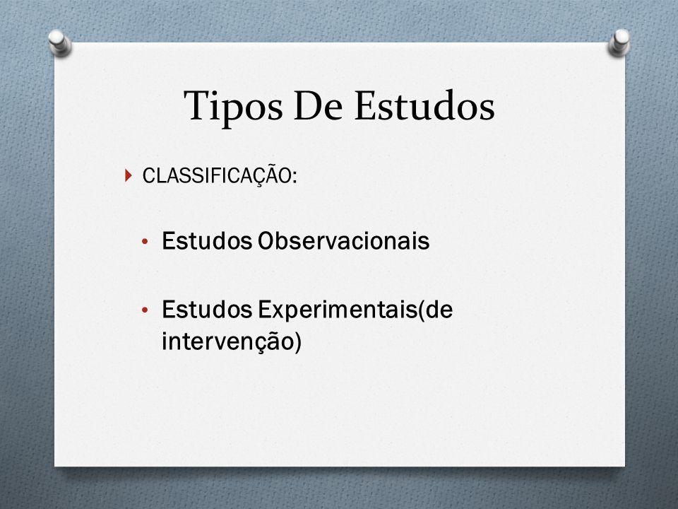 Tipos De Estudos Estudos Observacionais