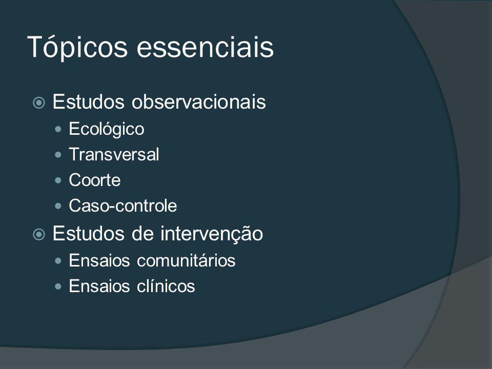 Tópicos essenciais Estudos observacionais Estudos de intervenção