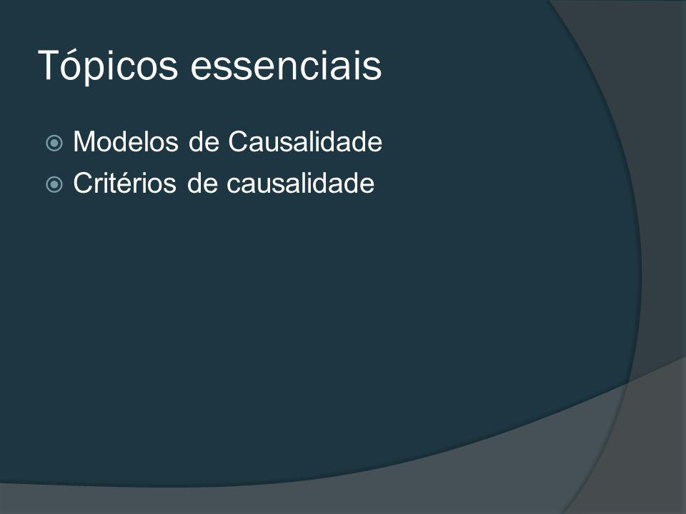 Tópicos essenciais Modelos de Causalidade Critérios de causalidade